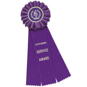 Custom rosette ribbon with a message of outstanding service is a great way to acknowledge success.