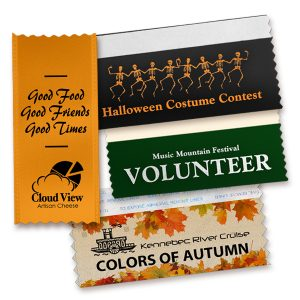 Badge ribbons with messaging for your Autumn Festivals.