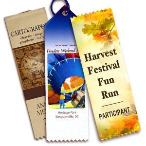 Custom top ribbons printed with messages for different events for Autumn festivals.
